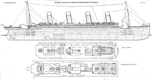 Plate 3: Plans for Boat Deck and Promenade Deck.