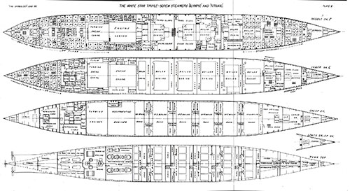 Plate 5: Deck Plans - Middle Deck F, Lower Deck G, Orlop Deck, Lower Orlop Deck, and Tank Top.