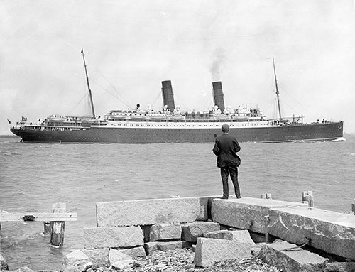 The S.S. Franconia (1912) viewed from the Shoreline
