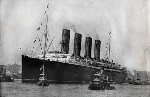 The Lusitania Leaving Her Pier at New York