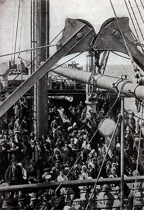 Steerage Passengers on the Deck of a Steamship in 1905 as seen by First Cabin Passengers