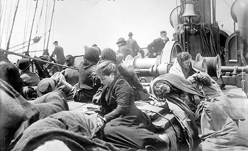 Steerage Passengers Relaxing on Deck
