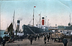 An Allan Line Steamer docked at the Liverpool Landing Stage