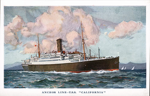 Postcard of the S.S. California of the Anchor Line 1930