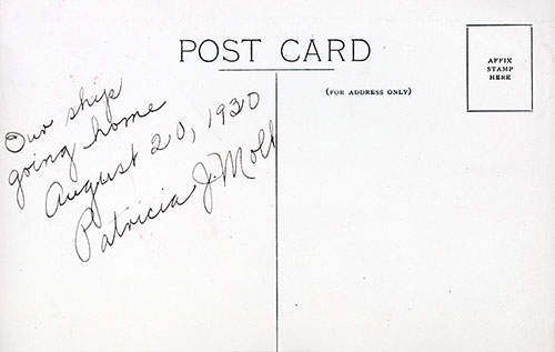 Message on Reverse Side of Postcard