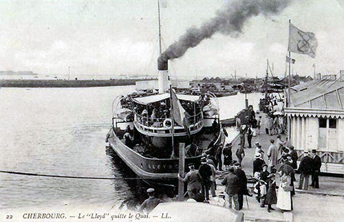 The Norddeutscher Lloyd Tender Departs with Passengers at Cherbourg Quay.