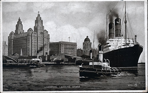 Tugboats Guide the Cunard Steamship out to Sea with Liverpool Landing Shown in Background
