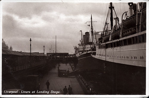 Real Photograph of Ocean Liners at Liverpool Landing Stage