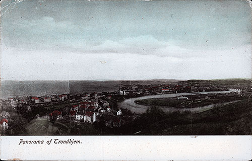 Panorama of Trondhjem from a Postcard dated 24 July 1908.