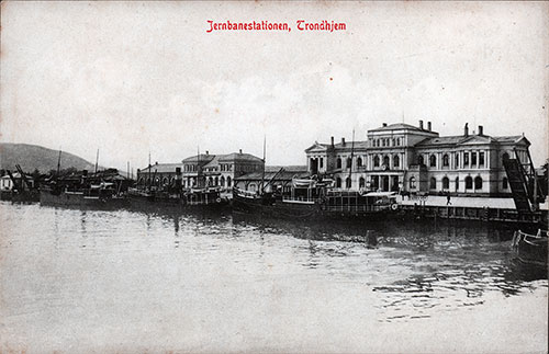The Railroad Station at Trondhjem (Jerbanestationen) on the Waterfront circa early 1900s. The railway station lies north of the town near the harbor.