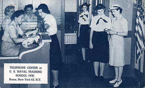 Photo Postcard of the Telephone Center at the Us Naval Training School (Wr) in Bronx, New York. Postally Used 7 December 1943.