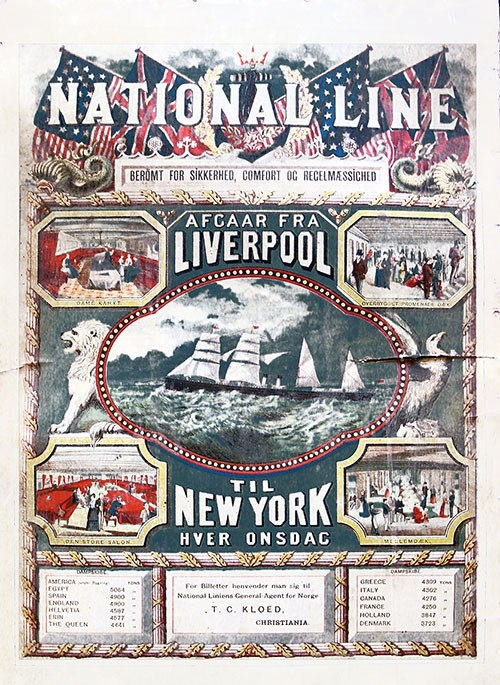 National Steam Navigation Company (National Line) Poster circa 1890s.