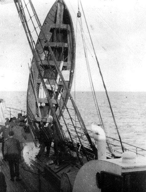 Titanic Lifeboat # 12 Being Hoisted Aboard the Carpathia.