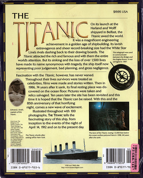 Back Cover, The Titanic: The Extraordiary Story of the Unsinkable Ship - 1997