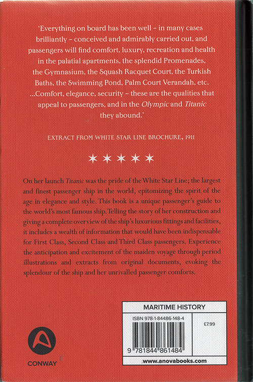 Back Cover, Titanic: A Passenger's Guide - Royal and United States Mail Steamer, White Star Line - 1912.
