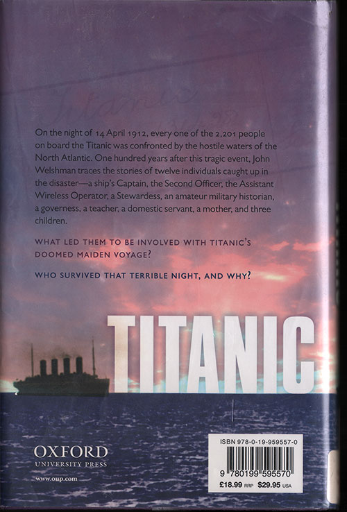Back Cover, Titanic: The Last Night of a Small Town - 2012