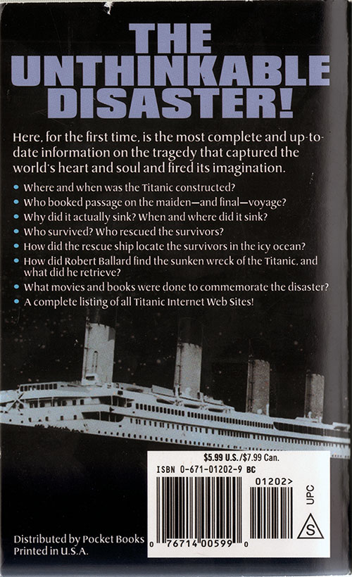 Back Cover of Total Titanic: The Most Up-to-Date Guide to the Disaster of the Century by Marc Shapiro (1998)
