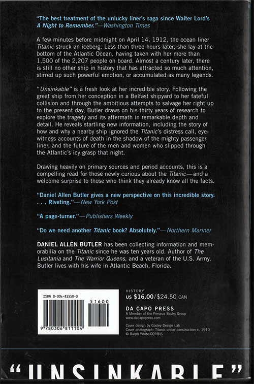 "Back Cover, ""Unsinkable"": The Full Story of the RMS Titanic - 2002"