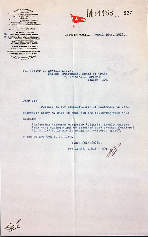 Reproduction of Correspondence between Sir Walter J. Howell, K.C.B. and Ismay, Imrie & Co., Following the Titanic Disaster