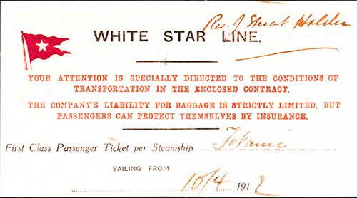White Star Line Agent Insert Accompanied the First Class Ticket for Rev. J. Stuart Holden for Titanic's Maiden Voyage