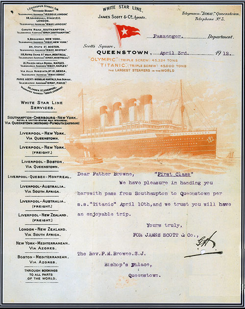 Reproduction of a White Star Line Letter to Father Browne Regarding First Class Tickets - 1912