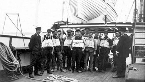 Crew Members From the Titanic Wear Lifejackets for This Publicity Photo Taken on the Boat Deck.