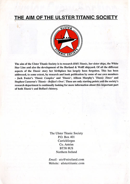 Back Cover of the CQD Titanic - Official Journal of the Belfast Titanic Society for Issue 22, Spring 2003