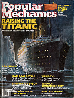 Front Cover of the Popular Mechanics Magazine for January 1986 Featuring the RMS Titanic