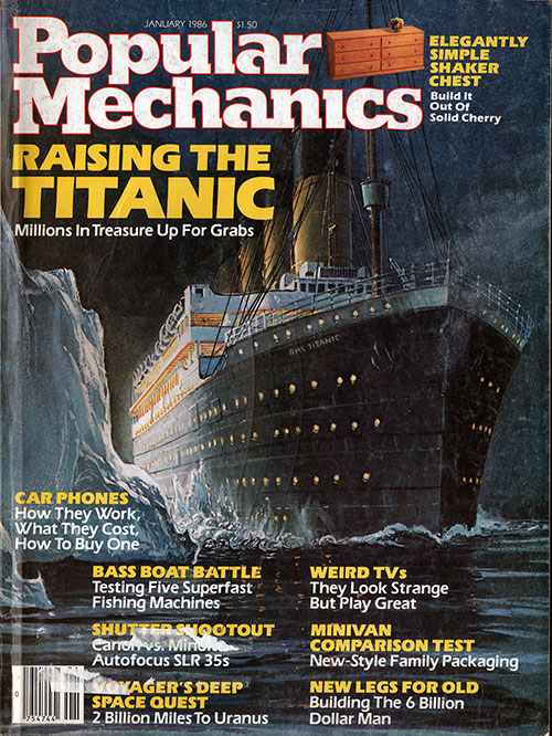 Front Cover of the Popular Mechanics Magazine. Raising the Titanic: Millions in Treasure Up for Grabs. (Titanic: Lost and Found) by Chris Davis.