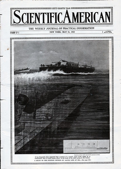 Front Cover of the Scientific American. The Unsinkable Ship: Longitudinal Coal Bunkers and Higher Bulkheads Might Have Saved the Titanic By J. Bernard Walker.