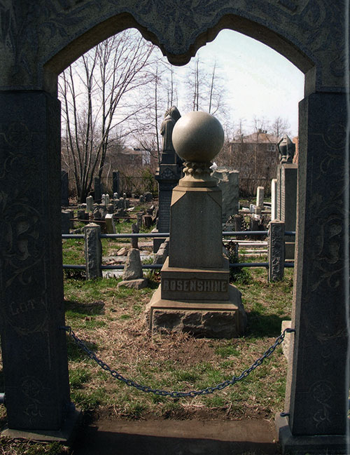 A magnificent granite arch is an entrance to the Rosenshine family plot in Bayside Cemetery