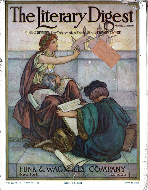 Front Cover, The Literary Digest: Public Option (New York) combined with The Literary Digest, New York-London: Funk & Wagnalls Company, Vol. 44, No. 17, Whole No. 1149, 27 April 1912.