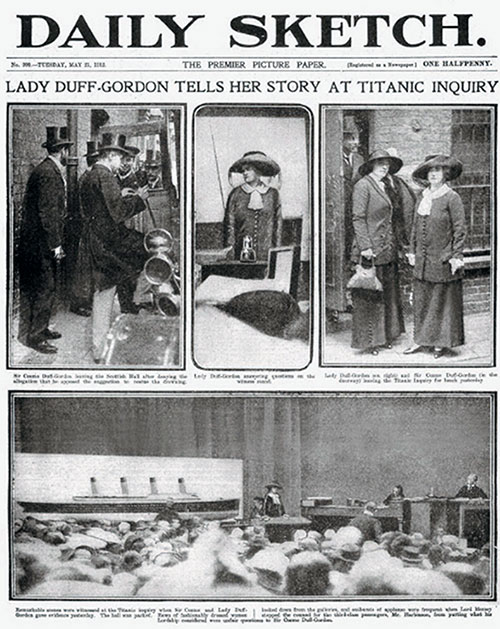 Lady Duff-Gordon Tells Her Story at Titanic Inquiry.