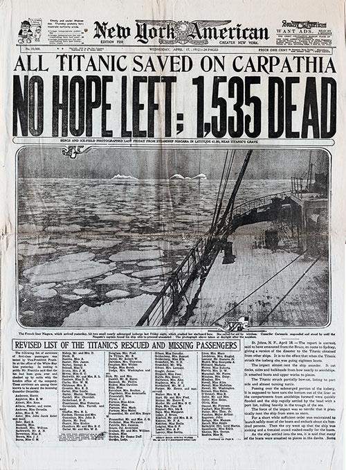 Front Page of the New York American for 17 April 1912 Special Edition About the Titanic Disaster