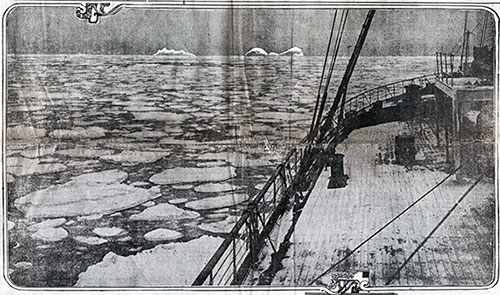 The French Liner Niagara, Which Arrived Yesterday, Hit Two Small Nearly Submerged Icebergs Last Friday Night, Which Crushed Her Starboard Bow.