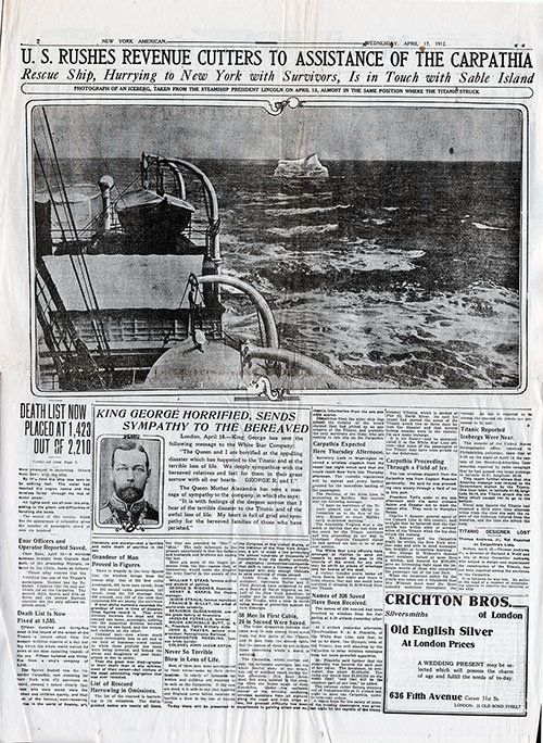Page 2 of the New York American, 17 April 1912. Featured Article: U.S. Rushes Revenue Cutters to Assistance of the Carpathia.