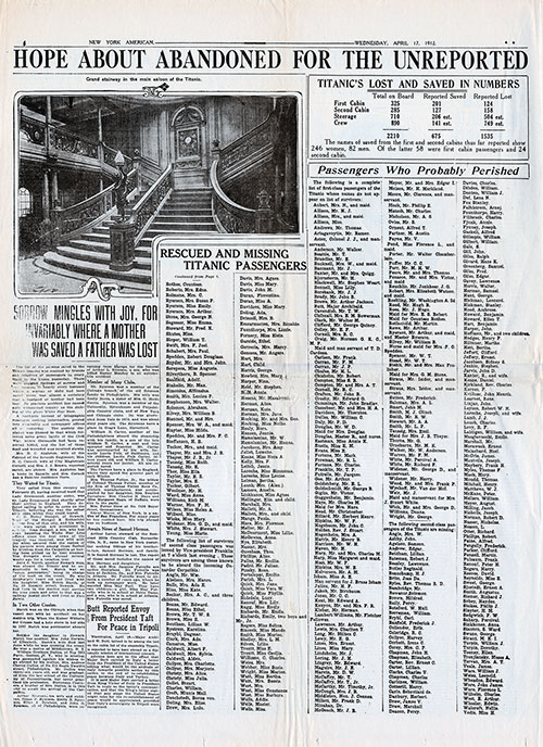 Page 4 of the New York American, 17 April 1912. Lists of Rescued and Missing, and Passengers Who Probably Perished.