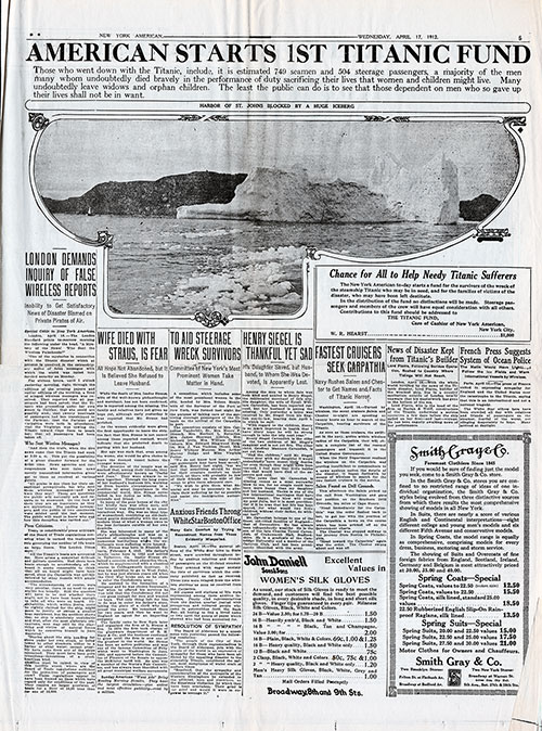 Page 5 of the New York American, 17 April 1912. American Starts First Titanic Fund - A Predicessor to Today's Go Fund Me.