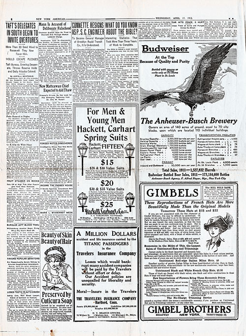 Page 8 of the New York American, 17 April 1912. Non-Titanic News and Ads.
