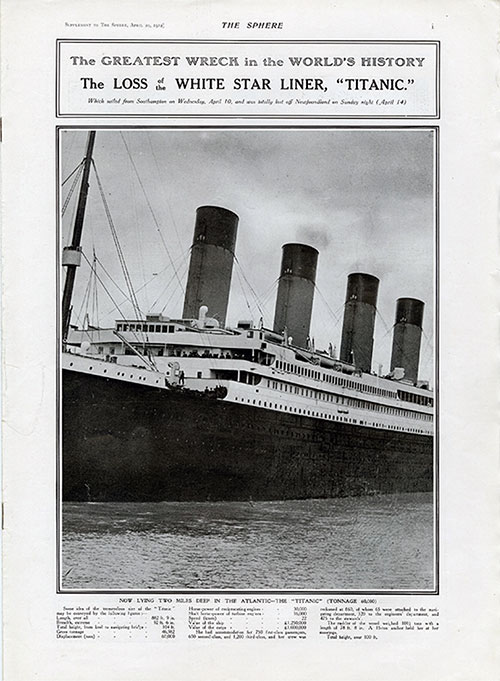The Greatest Wreck in the World's History: The Loss of the White Star Liner, Titanic.