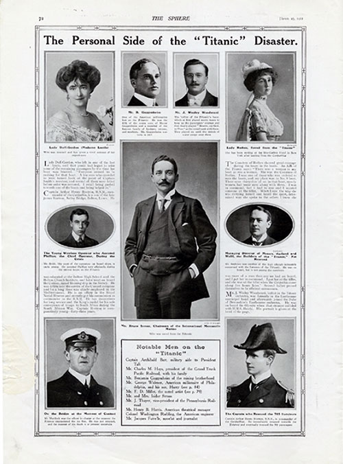 The Personal Side of the Titanic Disaster. Notable Passengers