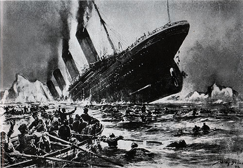 Artist Depiction of Titanic Sinking - 1912