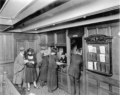 Passengers on the Olympic Visiting the Second Class Purser's Office, Located on Upper Deck E, Aft.