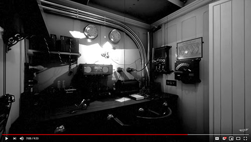 "Video Still Image: Wireless Room on the RMS Titanic from the Documentary Film by Titanic Honor & Glory entitled ""Titanic's Crew."""
