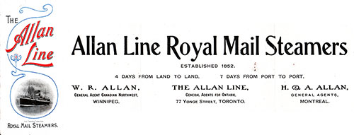 Passenger Lists - Allan Line - Available at the Archives