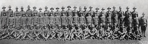 Right Half of Group Panoramic Photo of the Cadets of the Third Infantry Company, Third Officers Training Camp, Camp Devens, 1918.