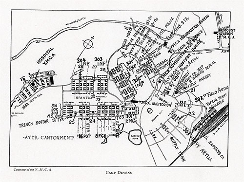 Map of Camp Devens (1918), Courtesy of the YMCA.