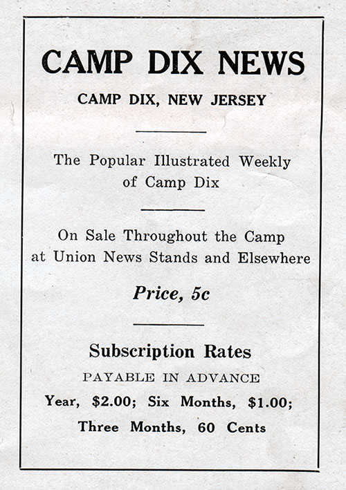 Ad for the Camp Dix News - Subscribe for $2.00 per Year