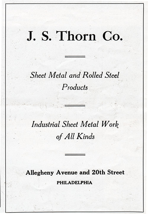 Ad - J. S. Thorn Co.