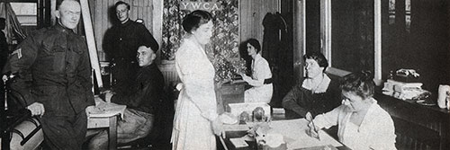 Interior of Hostess House - Miss Vesey at Desk